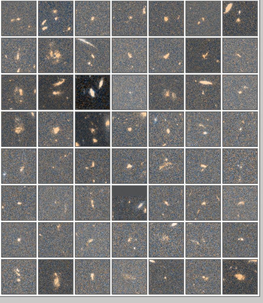 图4 z=2.24 处的H_alpha发射线星系的HST/ACS的图像。颜色是由V_606和z_850两个波段的数据得到的。