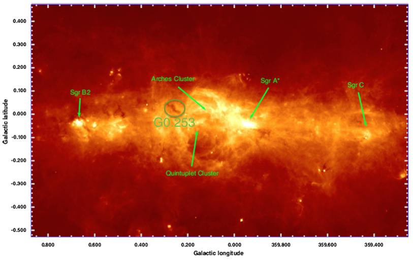 来自Molinari et al. 2011。CMZ的Herschel 70 micron图像。G0.253已标出。