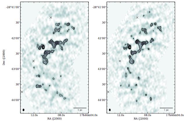 来自Johnston et al. 2014。SMA两个边带的连续谱。