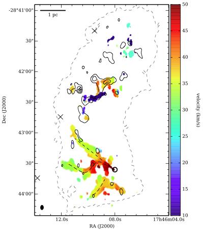 来自Johnston et al. 2014。甲醇谱线的1st moment图(速度场)。